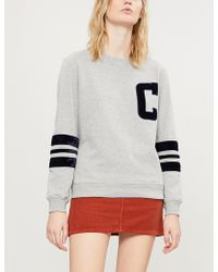 Claudie Pierlot - Tadah Velvet-trimmed Cotton-blend Sweatshirt - Lyst