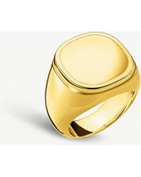 Thomas Sabo Classic 18ct Yellow-gold Plated Silver Signet Ring - Metallic