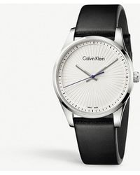 Calvin Klein | K8s211c6 Steadfast Stainless Steel And Leather Watch | Lyst