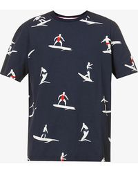 Thom Browne - Surfer Graphic-pattern Cotton-jersey T-shirt - Lyst
