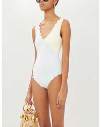 Marysia Swim Canyon Point Scalloped Two-tone Swimsuit - White