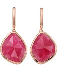 Monica Vinader - Siren Large Nugget 18ct Rose Gold-plated And Pink Quartz Earrings - Lyst