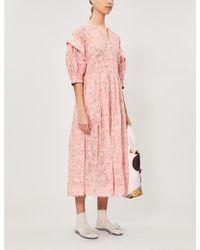 Renli Su Puffed-sleeve Floral-print Linen And Silk-blend Midi Dress - Pink