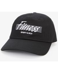Sporty & Rich Fitness Embroidered Cotton Baseball Cap - Black