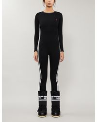 Perfect Moment Striped Slim-fit Stretch-cotton Jumpsuit - Black