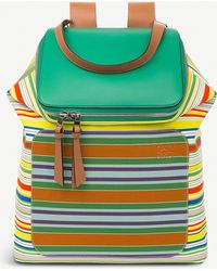 Loewe Goya Stripes Canvas And Leather Backpack - Multicolour