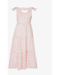 Sister Jane Heart Tiered Cotton Midi Dress - Multicolour
