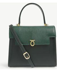 Launer Ladies Dark Green Leather Traviata Faux Lizard Tote Bag