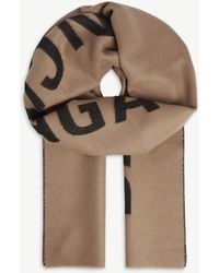 Balenciaga Logo Jacquard Wool Scarf - Natural