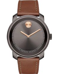 Movado - 3600378 Bold Gunmetal Grey Ion-plated Stainless Steel And Bull Hide Watch - Lyst