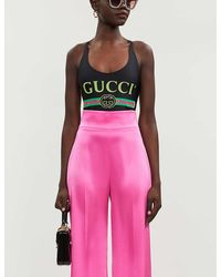 Gucci Brand-print Crossover Stretch-jersey Body - Pink