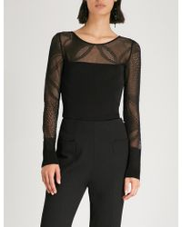 Roland Mouret - Ceder Fitted Jersey-mesh Top - Lyst