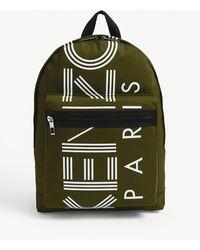 Striped Logo Zipped Backpack - Green