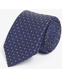 Canali Circle And Square Pattern Silk Tie - Blue