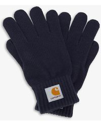 Carhartt WIP Watch Branded Knitted Gloves - Blue