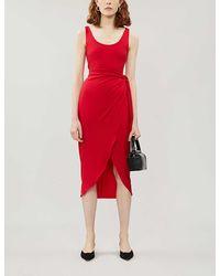 Reformation Kaila Wrapover Stretch-jersey Midi Dress - Red