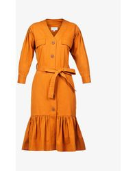Oroton Ruffle-hem Stretch-cotton Midi Dress - Orange