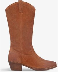 Bertie Taffy Western-style Suede Knee-high Boots - Brown