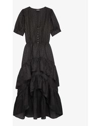 The Kooples Ruffle-tiered Silk-crepe Dress - Black
