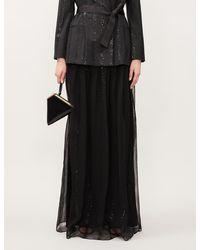 Brunello Cucinelli High-waisted Bead-embellished Silk Skirt - Black