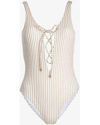 Ted Baker Rachey Plunge Swimsuit - White