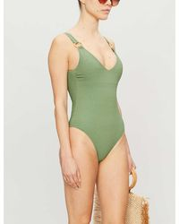 Love Stories Charlie Faux-bamboo Ring Swimsuit - Green