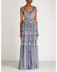 Needle & Thread - Whimsical Embroidered Chiffon Gown - Lyst