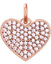 Thomas Sabo Love Coin Rose-gold And Zirconia Pendant - Metallic