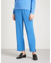 St. John - Cropped Crepe Trousers - Lyst