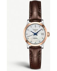 Longines L2.320.5.11.2 Record Leather And Rose Gold-plated Stainless Steel Watch - Pink