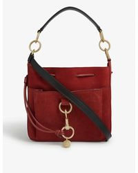 See By Chloé Tony Medium Suede And Leather Bucket Bag - Red
