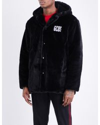 Gcds - Brand-embroidered Faux-fur Coat - Lyst