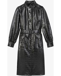 The Kooples Crocodile-embossed Leather Trench Coat - Black