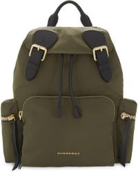 Burberry - Canvas Green Quilted Backpack - Lyst