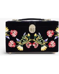 The Alkemistry Wolf Zoe Floral-embroidered Velvet Jewellery Box - Blue