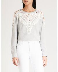 PAIGE - Eilise Lace-trimmed Cotton-blend Sweatshirt - Lyst