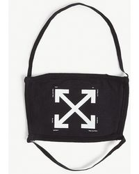 Off-White c/o Virgil Abloh Off White Mens Black And White Arrow-print Cotton Face Covering Mask