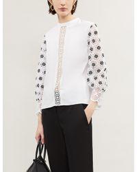 Claudie Pierlot Geometric Lace Top - White