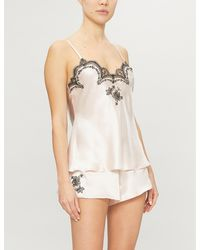 Nk Imode Delphine Lace-trimmed Silk-satin Pyjama Top - Natural