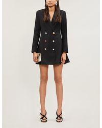 ROTATE BIRGER CHRISTENSEN Double-breasted Crepe Mini Blazer Dress - Black