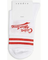 Sandro Cuba With Love Cotton-blend Socks - Red