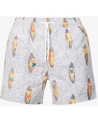 Far Afield Graphic-pattern Recycled-polyester Swim Shorts - Blue