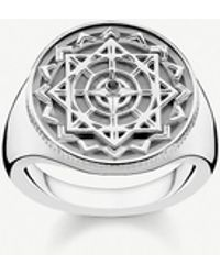 Thomas Sabo Vintage Compass Sterling Silver And Diamond Signet Ring - Metallic