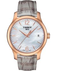 Tissot - T0632103711700 Tradition Crocodile-embossed Watch - Lyst