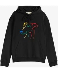 Ted Baker Mens Black Allbans Whippet-embroidered Cotton-jersey Hoody M