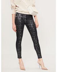 The Kooples - Metallic Textured-print Jersey leggings - Lyst