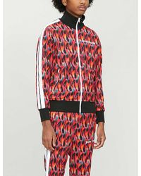 Palm Angels Arm-stripe Flame-print Jersey Track Jacket - Red