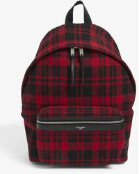 Saint Laurent City Checked Wool Backpack - Red