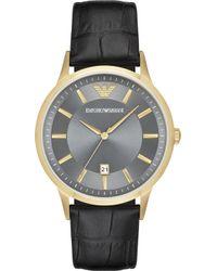 Emporio Armani - Ar11049 Renato Gold And Leather Watch - Lyst