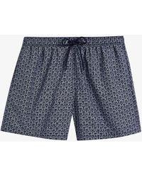 Ted Baker Mens Navy Tempt Regular-fit Brand-print Swim Shorts 38 - Blue